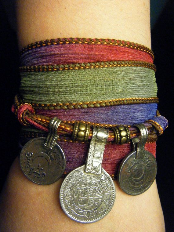 Gypsy Soul Boho Silk Wrap Bracelet with Tribal Kuchi Coins, Bellydance, Hooping, Yoga Bracelet, Multicolor w/Gold Accents