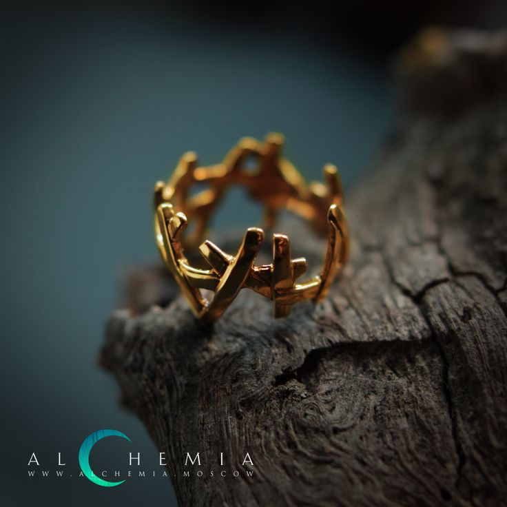 The Brushwood ring. Gilded silver. Handmade by Alchemia Jewellery.