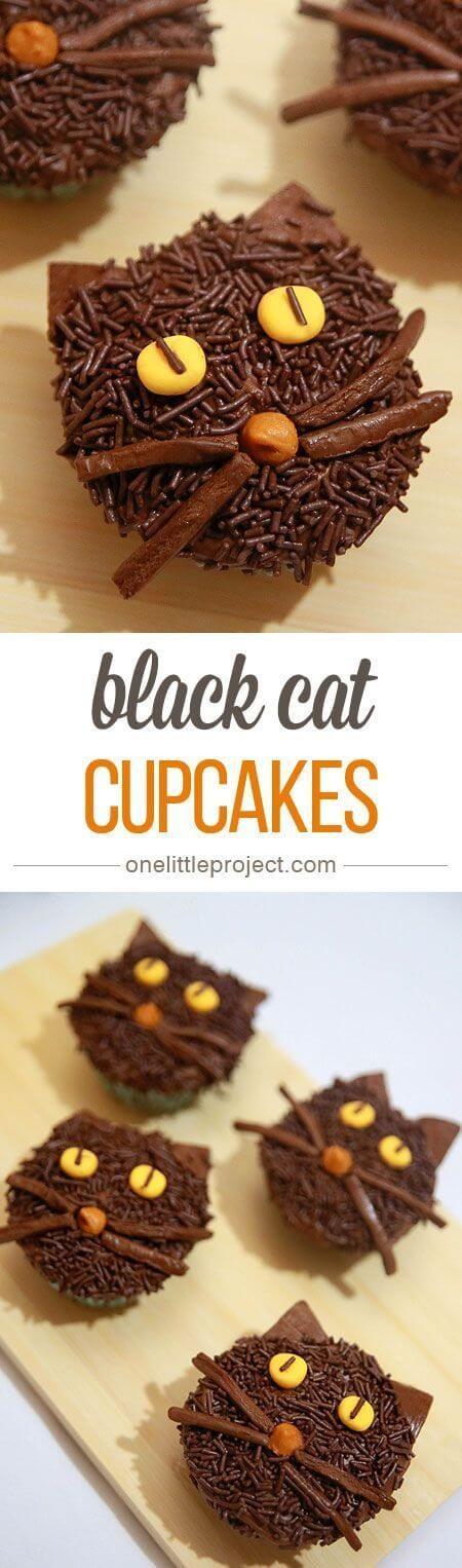 nice Non-Spooky Black Cat Cupcakes