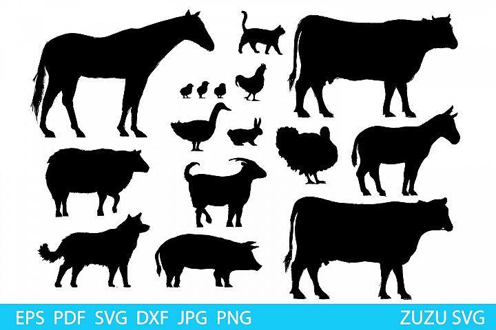 Download Farm Animal Svg Files For Cricut Silhouette Farm Animal Animal Illustration Animal Silhouette Animal Drawings