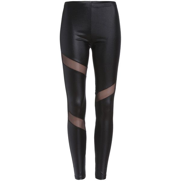 SheIn(sheinside) Black Sheer Mesh Slim Leggings ($14) ❤ liked on Polyvore featuring pants, leggings, bottoms, jeans, trousers, black, sexy leggings, stretchy leggings, slimming stretch pants and slimming leggings