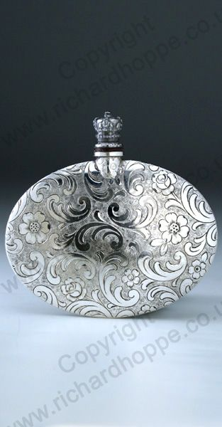VINTAGE c.1920s CROWN TOP SILVER PLATED FLORAL & SCROLLWORK PATTERNED SCENT PERFUME BOTTLE