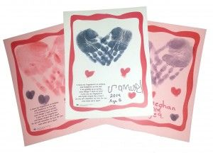 Printable Valentine Day Keepsake Valentine's - Hand prints heart, thumb prints heart, and poem.