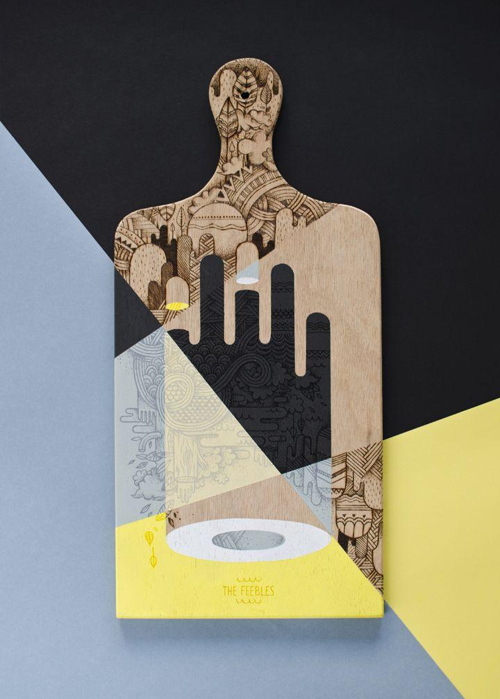 """Planche à saucisson réalisée à l'acrylique, posca et pyrogravure pour l'exposition collective """"Planchette"""" par la marque Olow. the Feebles - handmade - expo - paris - barbershop"""