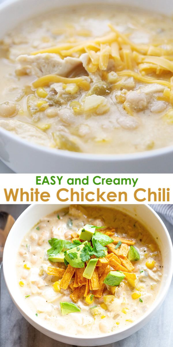 Creamy White Chicken Chili is so easy it can be made on the stovetop, in the slow cooker, or the instant pot.  I love to use leftover chicken, making this a super fast weeknight meal!
