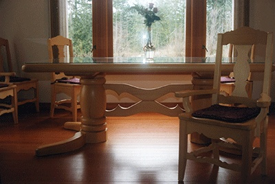 River Round heirloom  | Dining Room Tables Chairs on Yellow Cedar Trestle Table And Dining ...