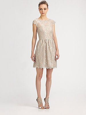 Aidan Mattox Metallic Lace Dress, with cut out back