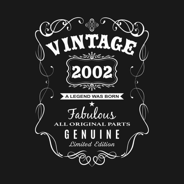 Birth Year FABULOUS SINCE 2002 Birthday Gift Novelty Themed Men/'s T-Shirt