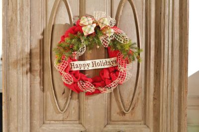 """""""Happy Holidays"""" Red Wired Burlap Wreath"""