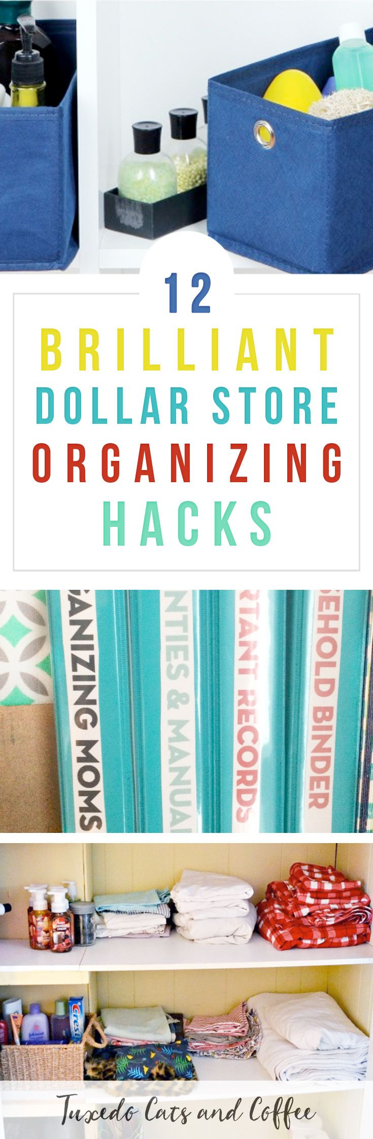 Organizing your home doesn't have to cost a ton of money.  In fact, there are many Dollar Store organizing hacks that you can do for just $1 per container or with items you already have at home.  Here are a bunch of dollar store organizing hacks from blogs across the web. #organizing #organization #organizinghack