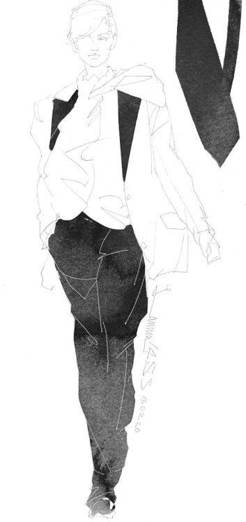 Today's Drawing 150226. The sample photo via internet. Lanvin 2014/SS/Pre