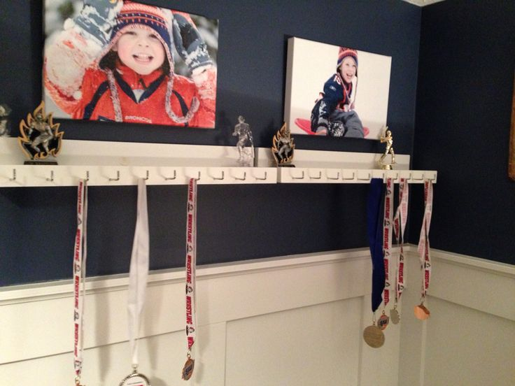 Medal and trophy display for the boys room - finally after a year of talking about it to them:)