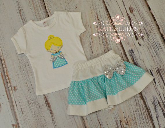 Girls Cinderella Outfit - Disney Trip outfit - Cinderella Top and Skirt Set - Princess Birthday Outfit - blue and silver Outfit