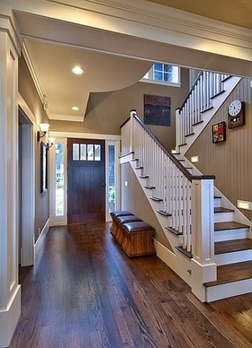 Oak floors with dark walnut stain against simple white trim, love the wall color (painted bead board)--The paint color is Sherwin Williams Sand Beach Flat #7529