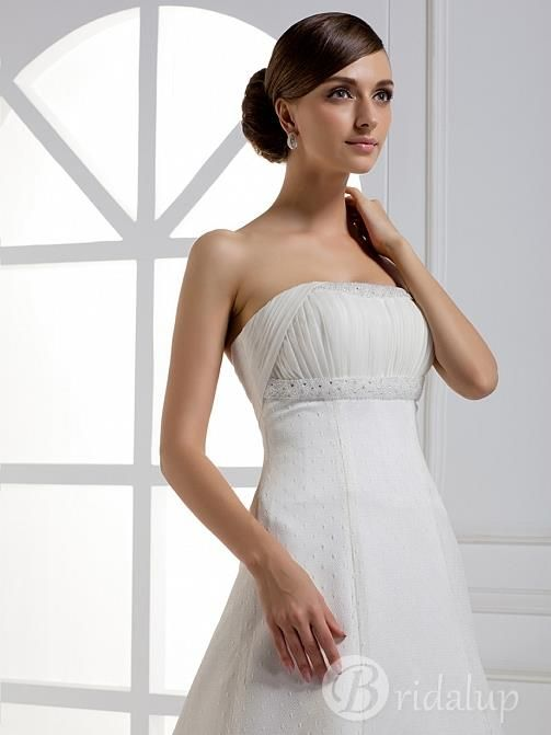 Elegant A-line Strapless Empire Floor-length Cathedral Train Wedding Dress 983 10821201 - A-Line Wedding Dresses - bridalup.Com