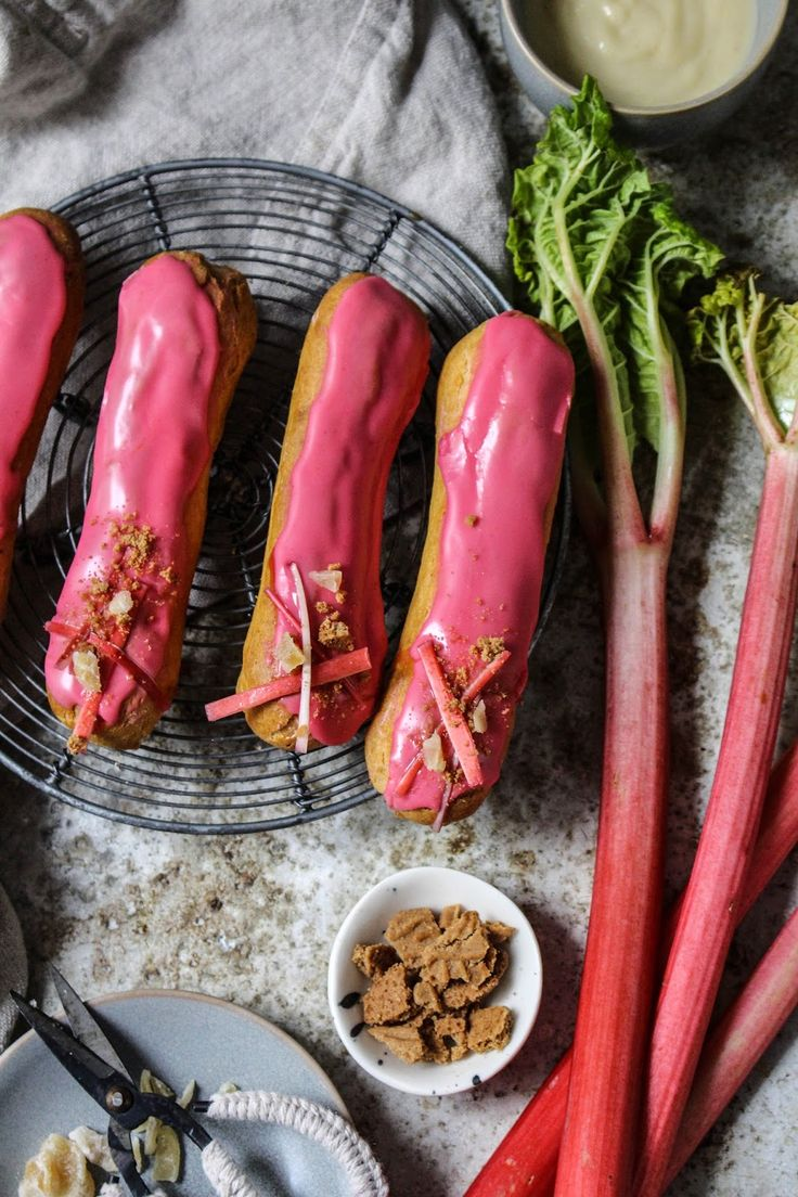 eclairs with roasted rhubarb and tonka bean and ginger custard