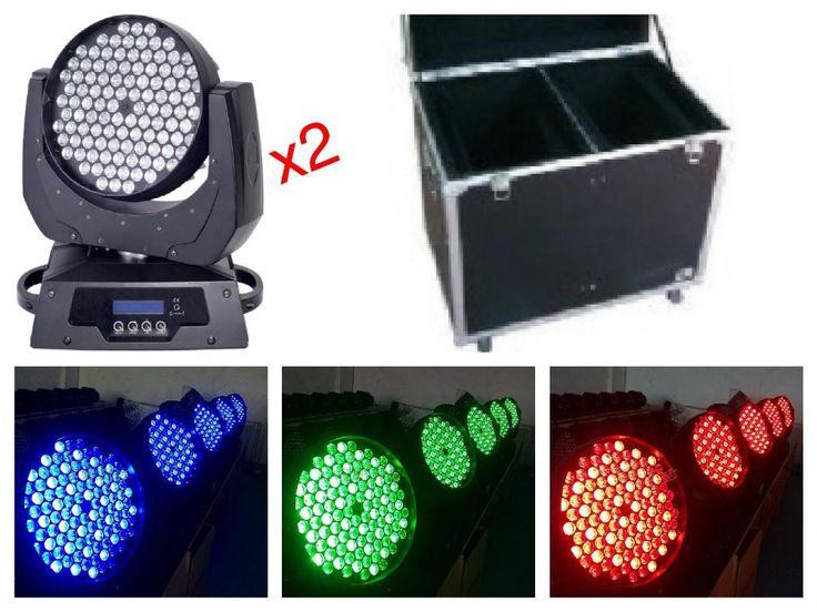 2pcs+flightcase,led moving head wash 108x3W RGBW light stage lights disco club b…