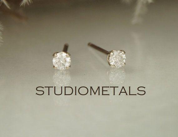 Small Diamond Studs, 14K Gold Diamond Stud Earrings, Diamond Earrings, E154 on Etsy, $283.98