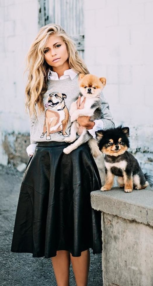 A Graphic Sweater, a Collared Shirt, and a Full Black Skirt