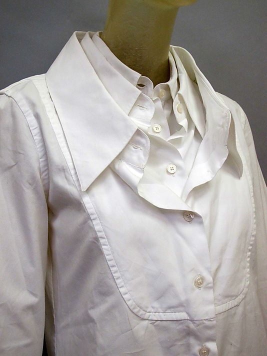 White shirt reinvented with triple collar detail; creative pattern cutting; sewing idea; vintage fashion // Viktor & Rolf
