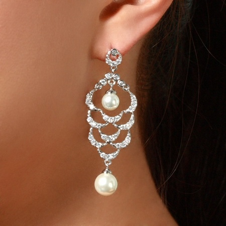 Bridal Jewelry: Maddie's Chandelier CZ and Pearl Earrings