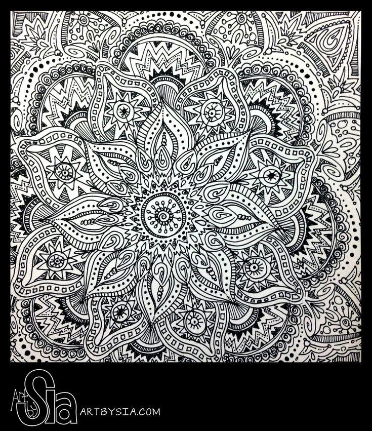 Original Zentangle Doodle Drawing Modern By