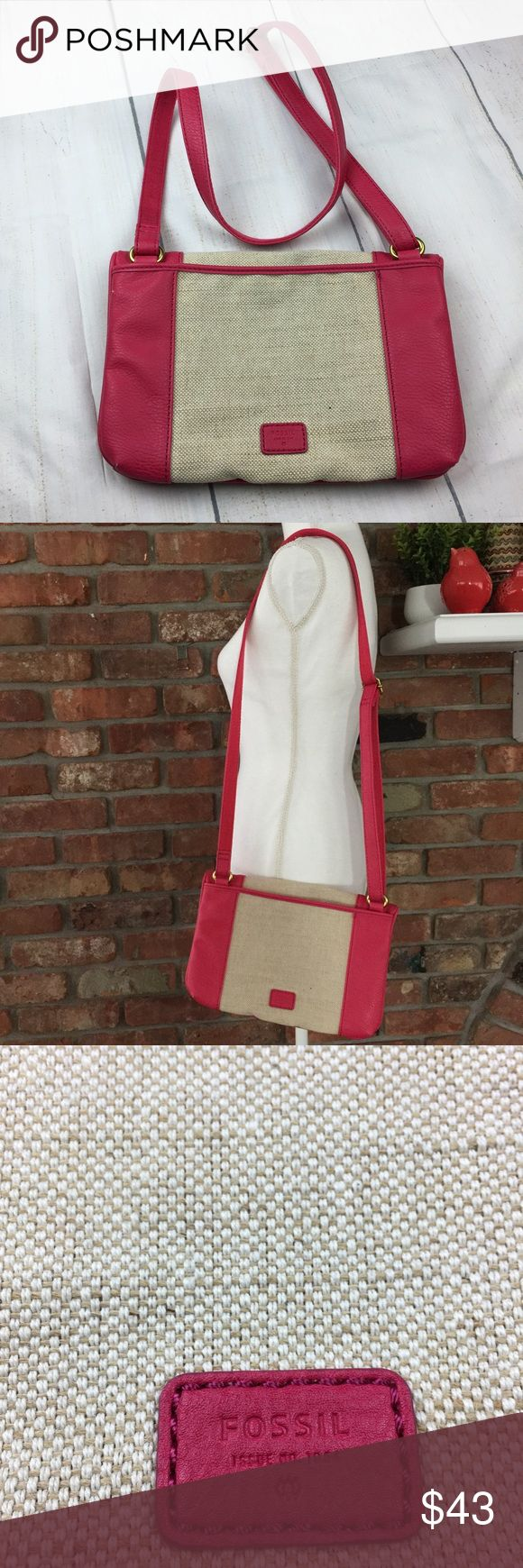 Fossil Kira Pink & Tan Canvas Fold Over Purse In wonderful condition inside is in excellent condition. No stains, smoke free environment. Does have two very small marks in the leather, as seen in pictures. It has zippered pockets under the front fold over the flap and slip pocket on the back side. It is canvas and leather. Crossbody strap does adjust. Fossil Bags Crossbody Bags