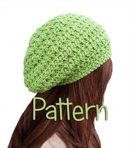 Crochet Pattern Slouchy Beanie Beret Style Basic Hat Easy ...