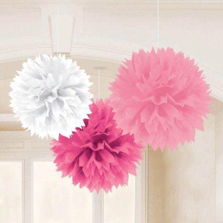 3 fiocchi di carta, decorazioni da appendere, bianco - rosa - fucsia, diam.40,6 cm. Disponibili da C&C Creations Store