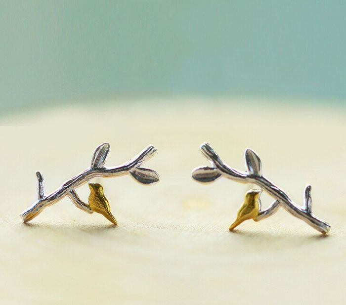 Gold Plated Bird and Branch Earrings,Country Style Rustic Jewelry,Gift For Natural Lovers,ER073,Silver Cartilage Earrings by ALLBlings on Etsy