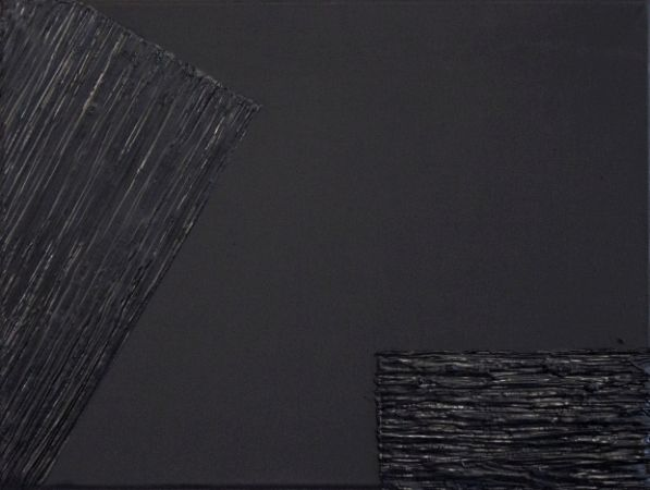 Justyna Smolen, no title, oil on canvas, black painting, gloss and matte, abstract art