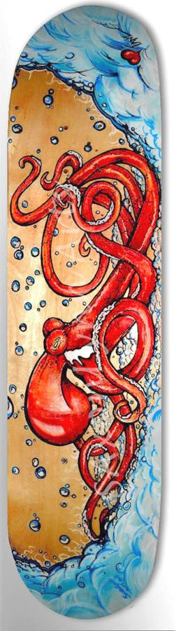 Unique Painted Skateboard Art Custom Octopus Painting Skateboard -Hand Painted Skateboard Art -Limited Edition Skateboards Made To Order Art