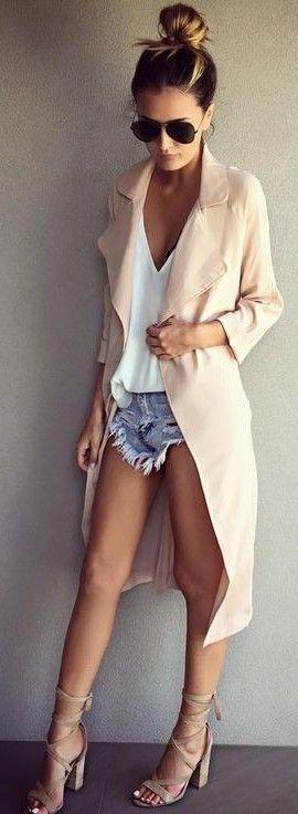 Nude Light Weight Trench + White Tank + Cutoffs Source
