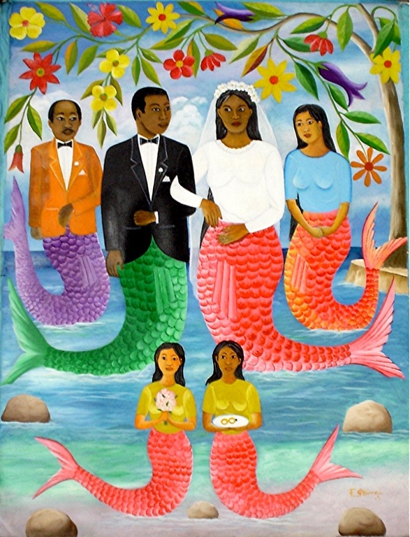"""Mermaid Wedding Ceremony"" painting by Haitian artist Fernand Pierre"
