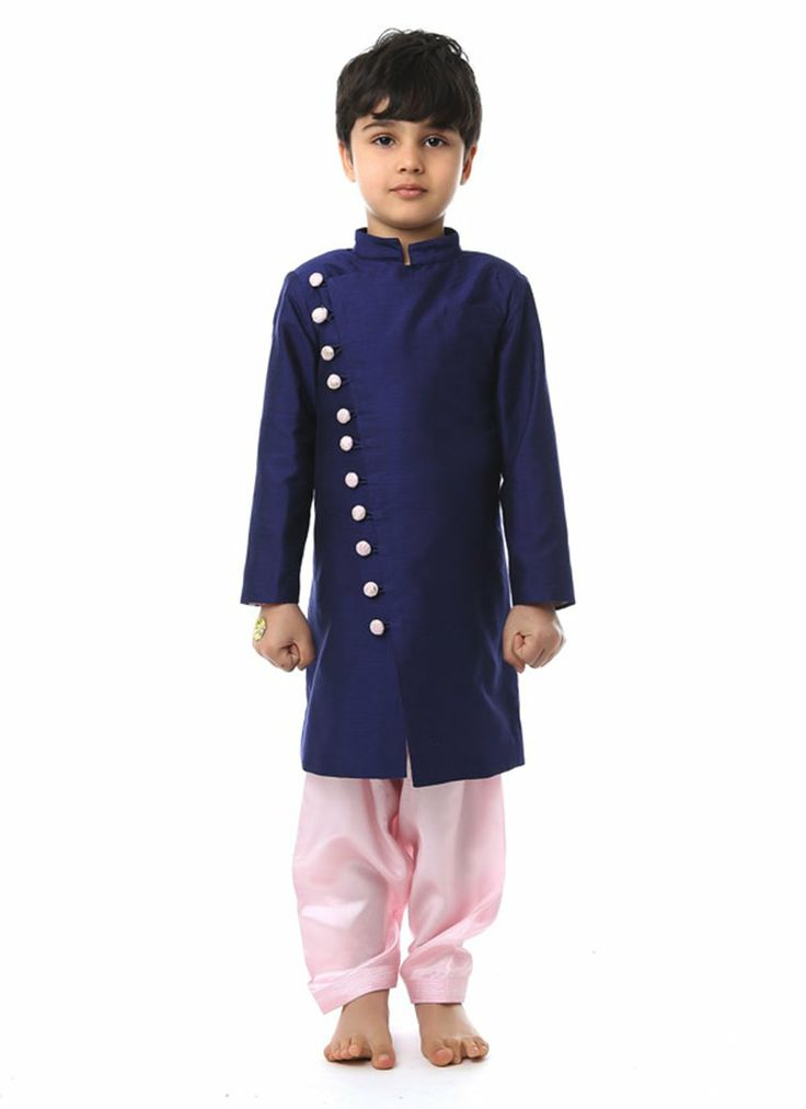 Charming Purple Silk Cotton Kurta Pyjama #kidswear #indian