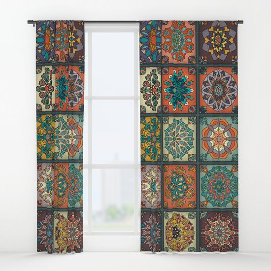 Vintage patchwork with floral mandala elements Window Curtains