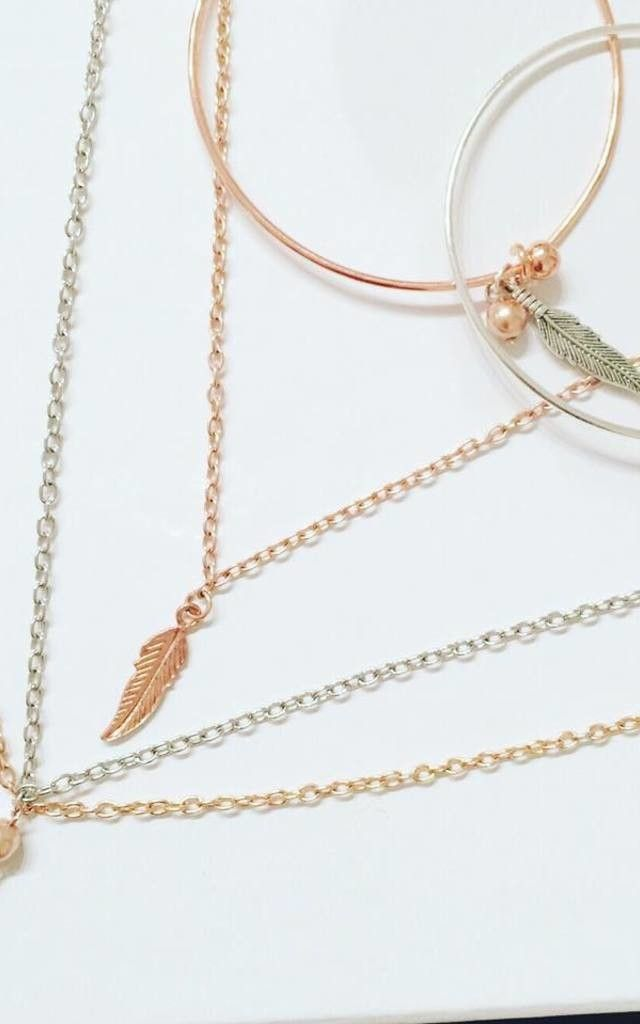 Feather multi strand necklace - SilkFred