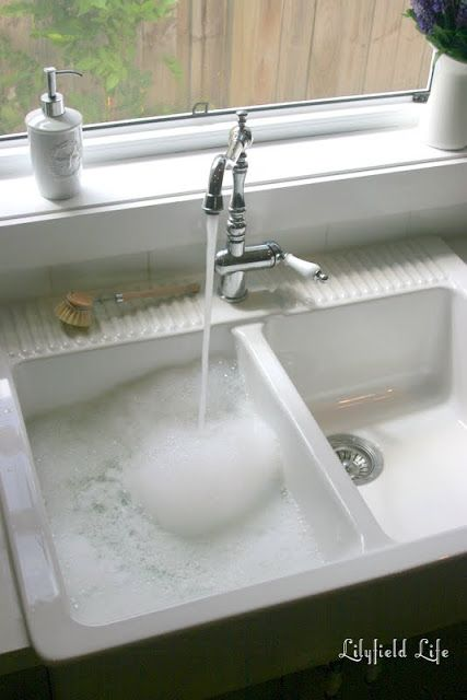 Loving my IKEA DOMSJÖ Sink. If you buy the IKEA Domsjo sink (or any fireclay white ceramic sink) you will spend more time cleaning it than your normal sink. It's not that it gets dirty, but being so pristine white the dirt shows up more and it's so pretty that you'll want to keep it that way.