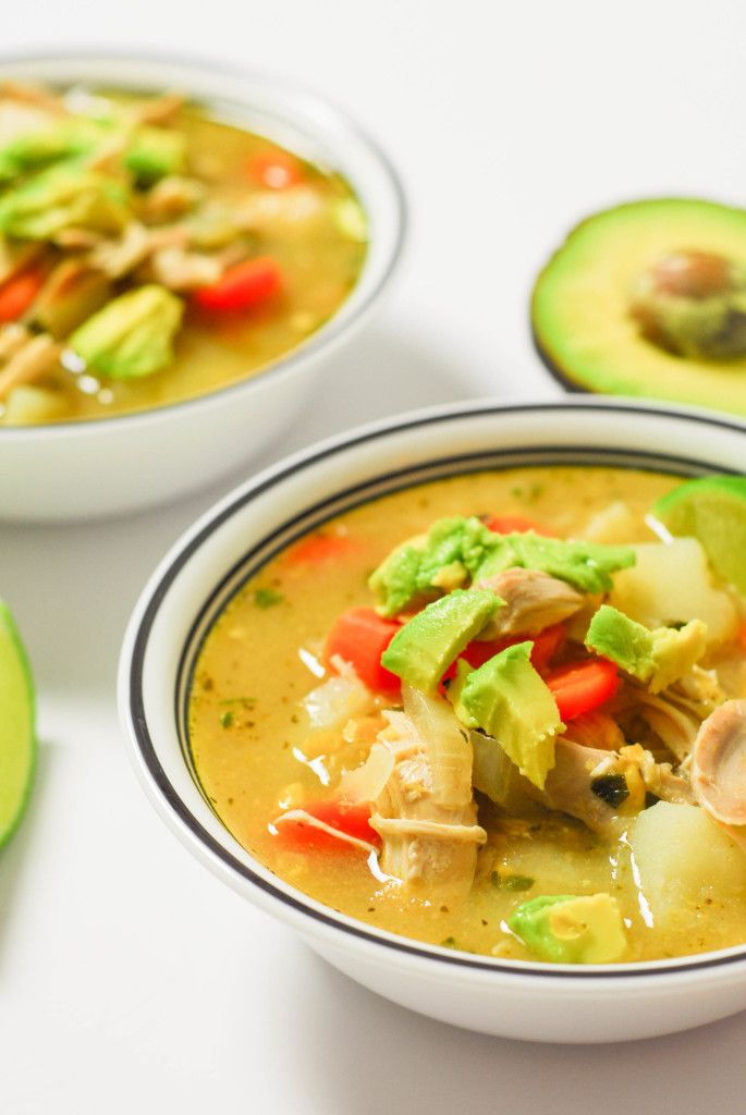 Columbian Chicken Soup from A Duck's Oven. A little spicy, a lot fresh, topped with plenty of avocado.