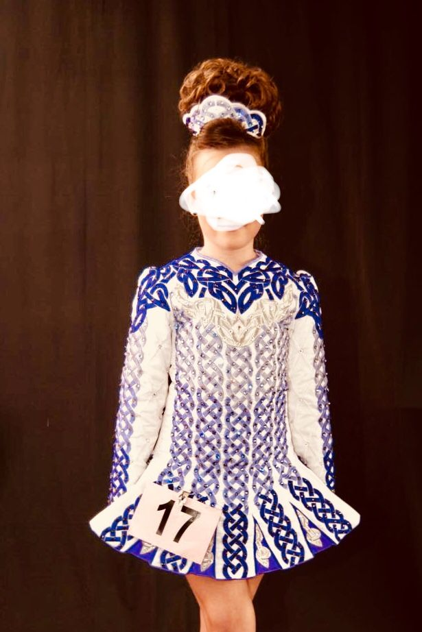 Marvelous White Alana Mallon Irish Dance Dress Solo Costume For Sale