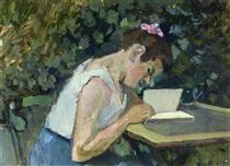 Ritratto di una ragazza che scrive in giardino di Henri Matisse