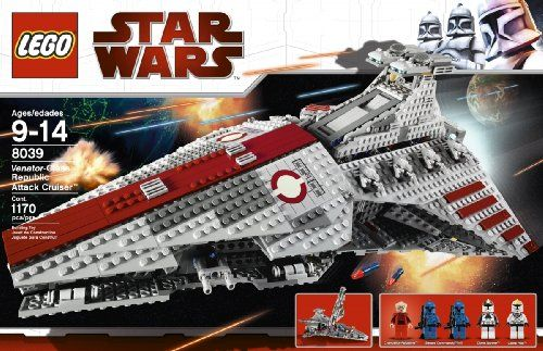 LEGO Star Wars Venator-class Republic Attack Cruiser (8039)  http://www.bestdealstoys.com/lego-star-wars-venator-class-republic-attack-cruiser-8039/