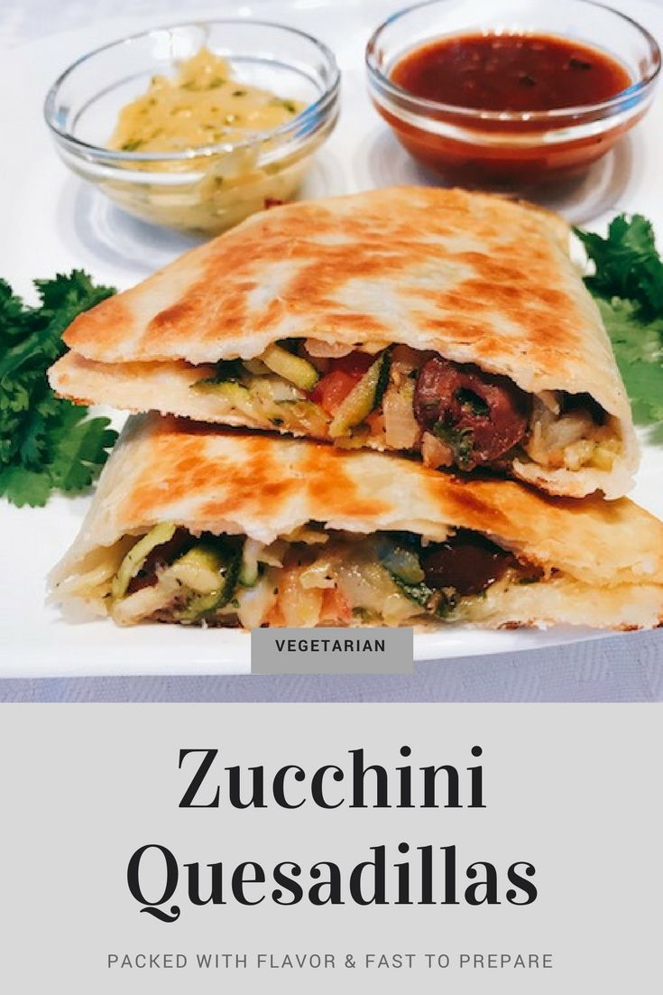 Vegetarian quesadillas packed with flavor filled with zucchini, Kalamata olives, onions, tomatoes, and more. Super fast to make. #zucchini #quesadillas #kalamataolives #healthy #easyrecipe #lowfat #garlic #onions #tortillas