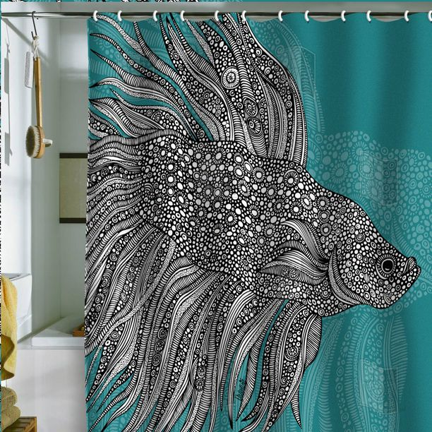 graphic shower decorating market curtain beach il curtains etsy uk house fish illustrations pattern bath