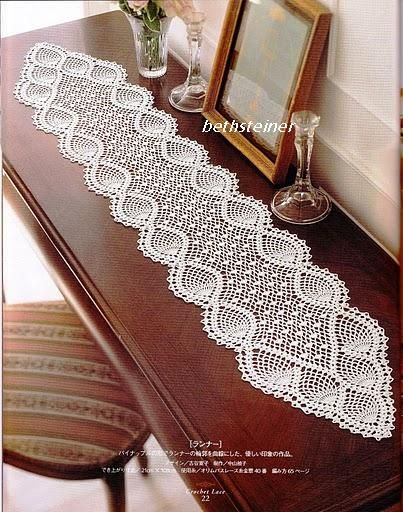 Many free crochet diagram patterns here. Pretty table runner. Blog is in Portuguese, use Google Translate and copy, paste the URL for your preferred language.