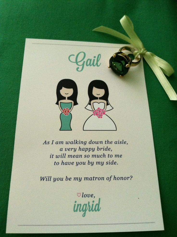 Will you be my matron of honor card. Mint green with an emerald stone ring!