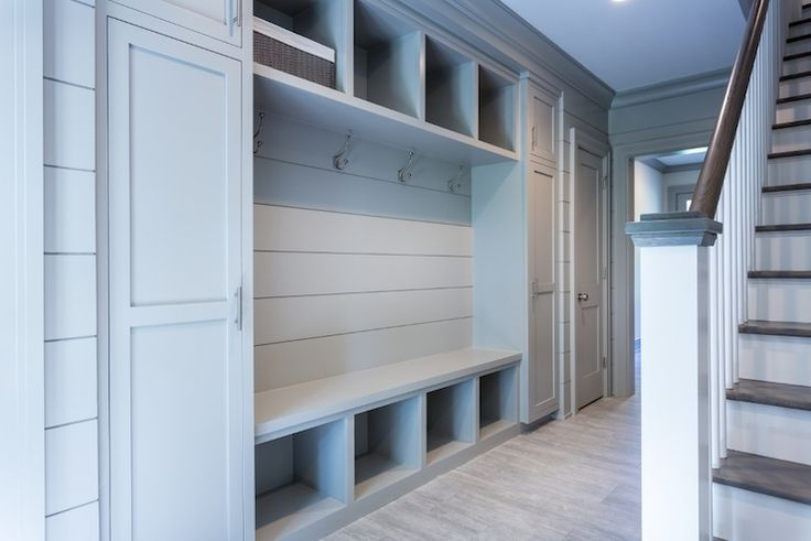 Grey Mudroom Built Ins, Transitional, Laundry Room, Sir Development