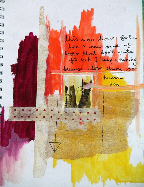 You don't have to be able to draw to create a beautiful work of Art in your Art Journal - this beautiful composition is made up of abstract colour swatches collaged with ribbon, a picture and a thought. It is dramatic and striking in it's composition. Try not to focus on your perceived weakness - relax and play with the materials instead!