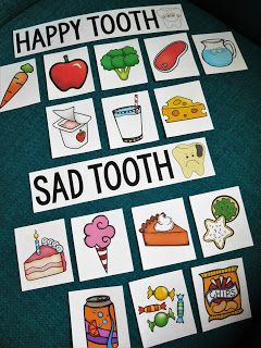 Help kids understand dental health by sorting what is good and bad for our teeth.