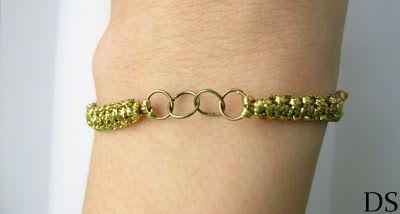 gold bracelet bransoletka makrama z czterema kółeczkami bransoletka sznurkowa